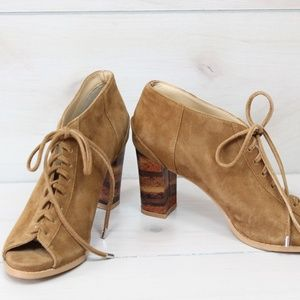 Anthropologie FarylRobin Suede Lace-Up Booties 7